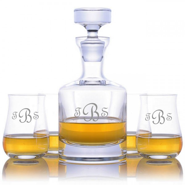 Engraved Ravenscroft Buckingham Decanter 4 Single Malt Scotch Gles Set