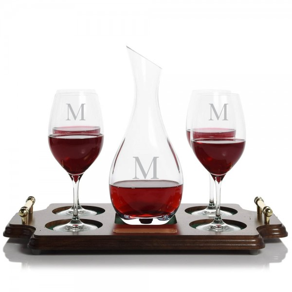 Personalized Ravenscroft Cristoff Crystal Wine Decanter Stemmed Set Wood Tray Set