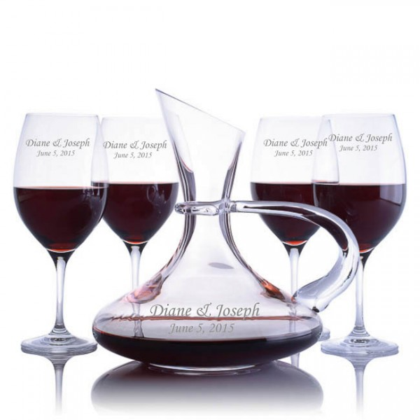 Engraved Ravenscroft Handled Captain's Decanter & 4 Red Wine Glasses