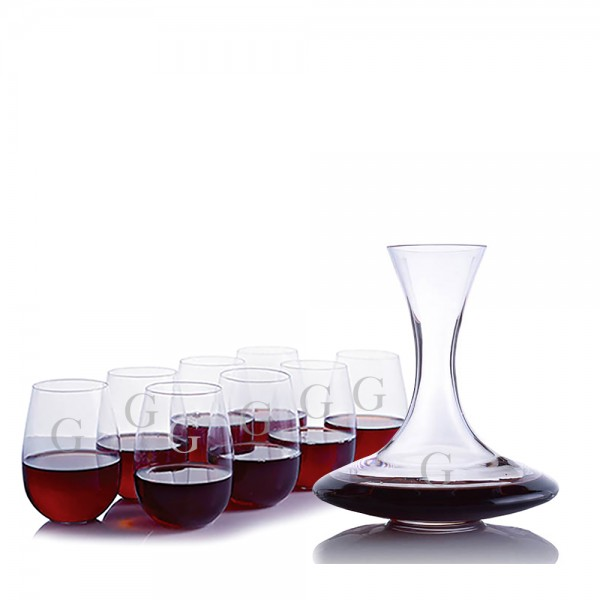 Custom Infinity Wine Decanter 9 Piece Stemless Set by Ravenscroft