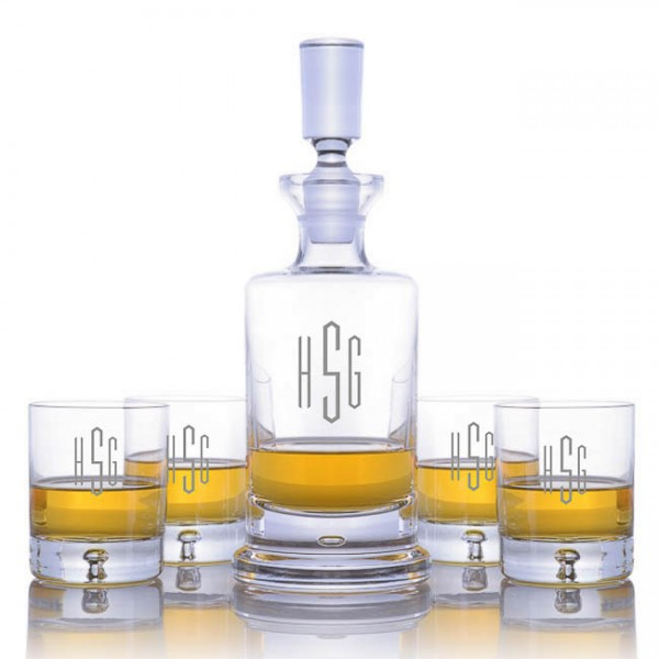 Ravenscroft Crystal Kensington Engraved Whiskey Decanter & 4 DOF Tumblers Set