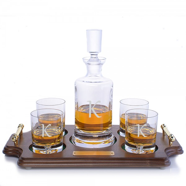 Ravenscroft Crystal Kensington Engraved Whiskey Decanter & 4 DOF Tumblers Wood Tray Set