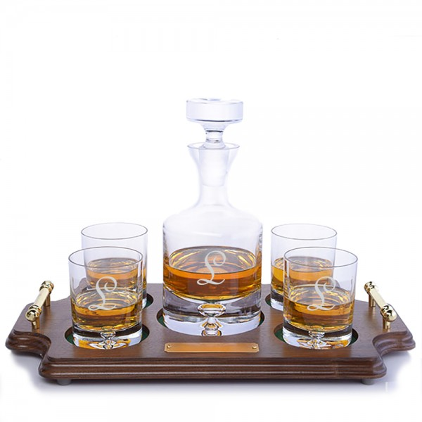 Personalized Ravenscroft Crystal Taylor Decanter - Wood Tray Set
