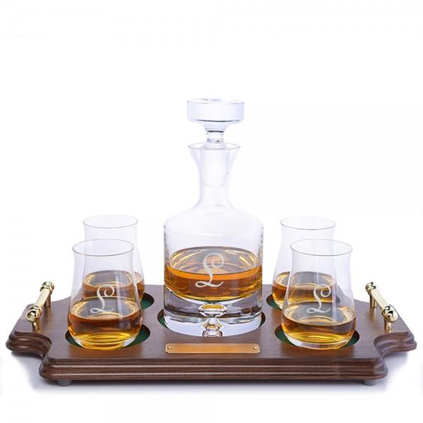 Engraved Ravenscroft Taylor Liquor Decanter & 4 Scotch Tumbler Wood Tray Set