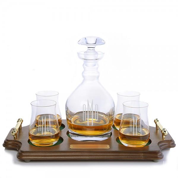 Ravenscroft Jefferson Engraved Liquor Decanter & 4 Single Malt Scotch Glasses Wood Tray Set