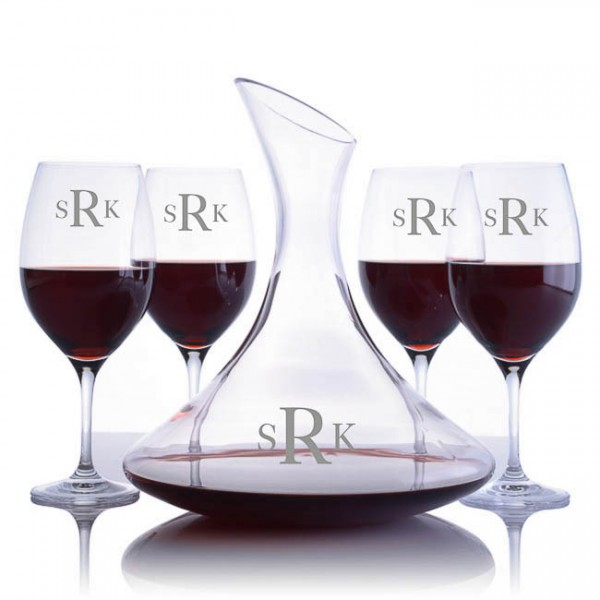 Ravenscroft Engraved Ultra Magnum Decanter & 4 Red Wine Glasses