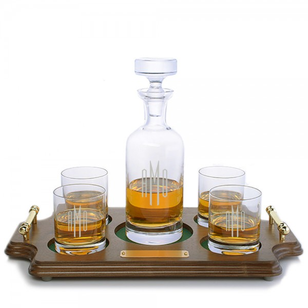 Ravenscroft Crystal Wellington Engraved Whiskey Decanter& 4 Double Old Fashioned Tumblers Wood Tray Set