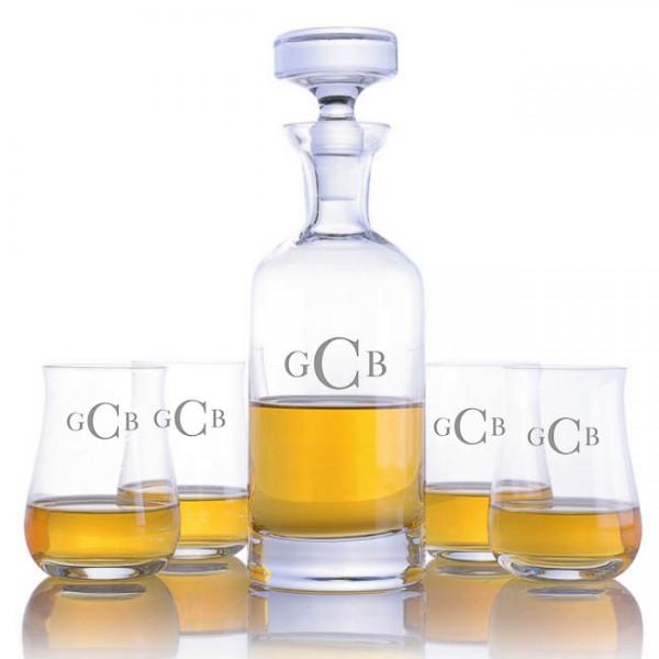 Engraved Ravenscroft Wellington Liquor Decanter & 4 Scotch Tumblers Set