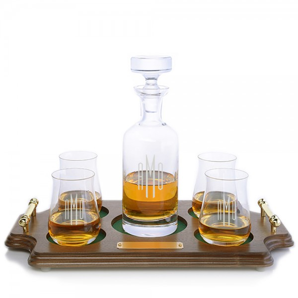 Ravenscroft Crystal Wellington Engraved Liquor Decanter & 4 Single Malt Scotch Glasses Wood Tray Set