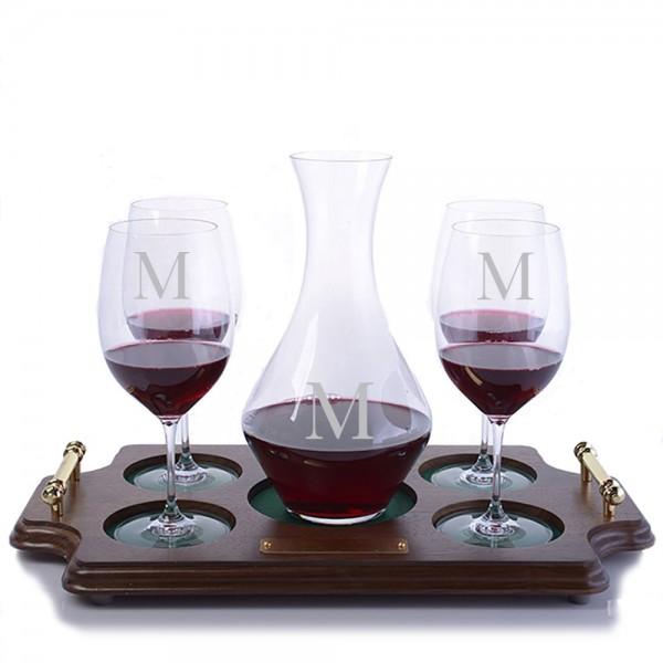 Riedel Cabernet Magnum & Stemmed Glasses Wood Tray Set