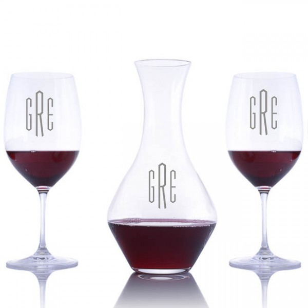 Riedel Engraved Cabernet Magnum Decanter & 2 Red Wine Glasses