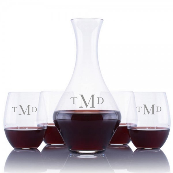 Personalized Cabernet Magnum Wine Decanter 5pc Stemless Set By Riedel