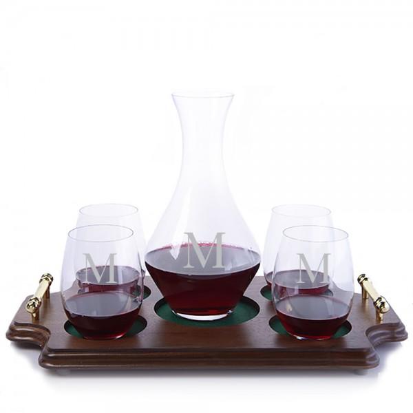 Riedel Cabernet Magnum & Stemless Glasses Wood Tray Set