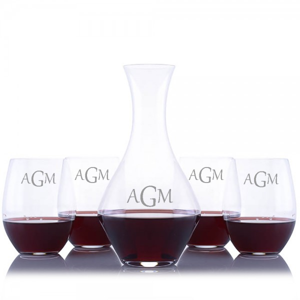 Custom Riedel Cabernet Wine Decanter 5pc. Stemless Set