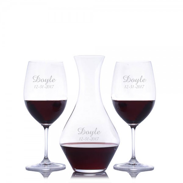 Custom Riedel Cabernet Wine Decanter 3pc. Set