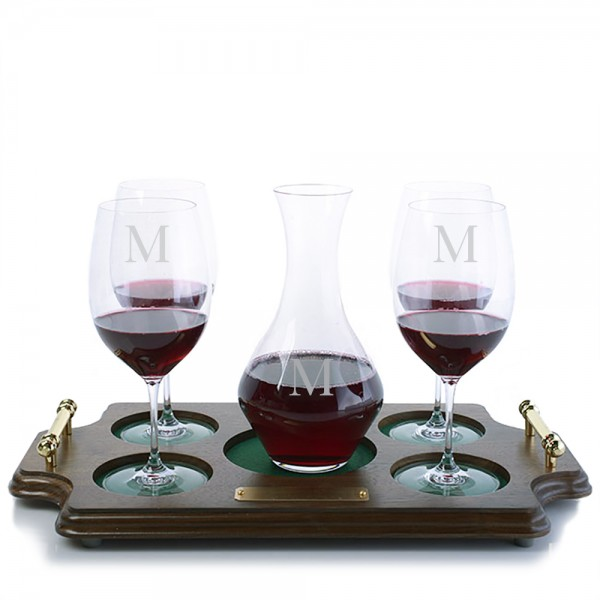 Riedel Cabernet Decanter & Stemmed Glasses Wood Tray Set