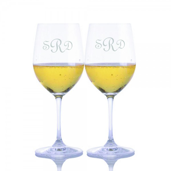 Engraved Riedel Vinum Chardonnay Glass