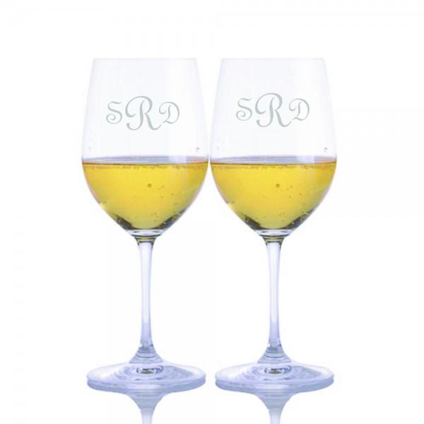 Engraved Riedel Vinum Chardonnay Glass