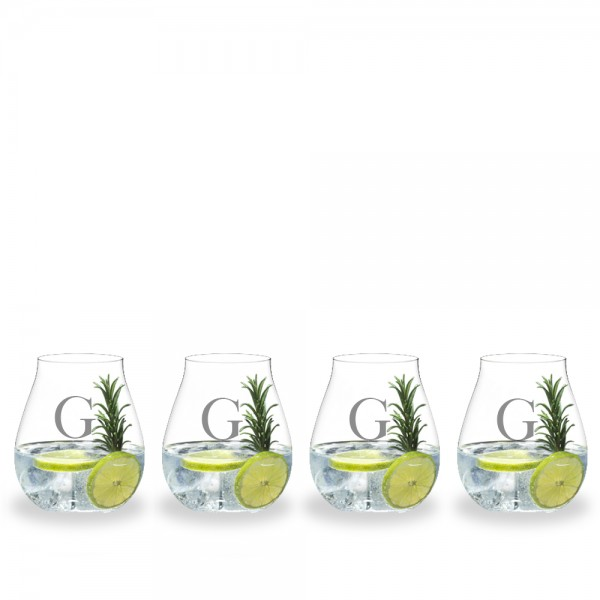Custom 4 Piece Gin O'Clock Crystal Gin Gift Set by Riedel