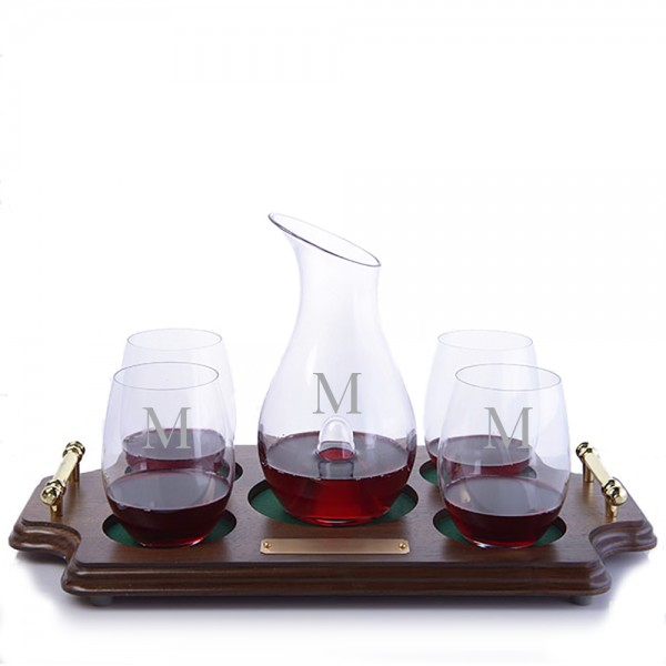 O Single Decanter Stemless Wood Tray Set by Riedel