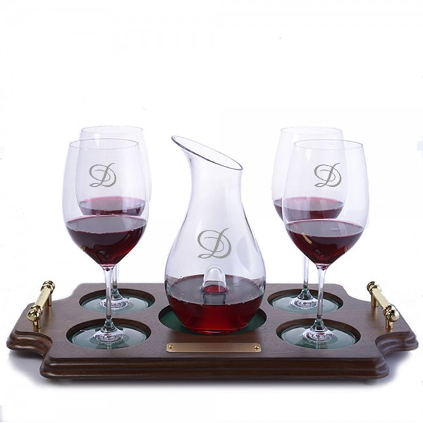 Personalized O Single Decanter Stemmed Wood Tray Set by Riedel