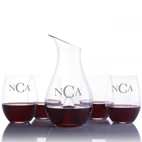 "Riedel ""O"" Series Decanter & 4 Stemless Red Wine Glasses Set"