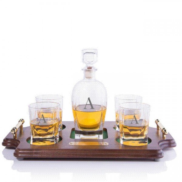 Luigi Bormioli Rossini Engraved Whiskey Decanter & 4 DOF Tumblers Wood Tray Set