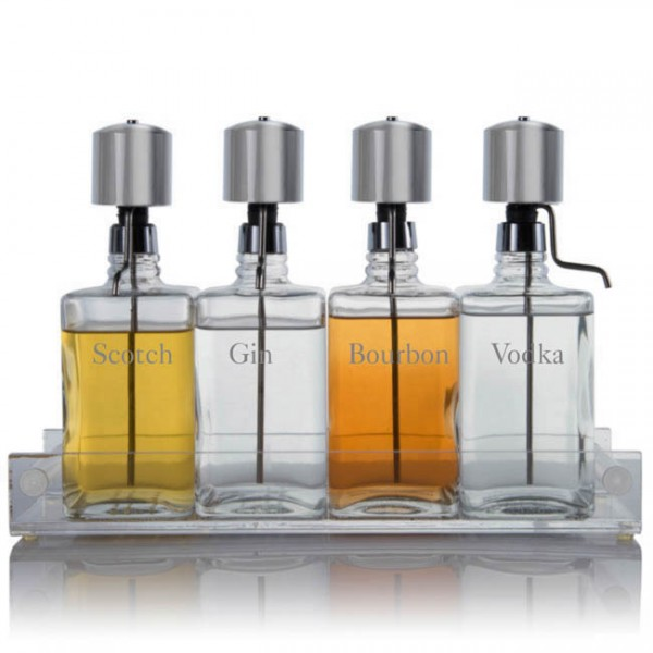 Liquor Decanter Bar Set with Chrome Pump Dispenser & Acrylic Tray Old English