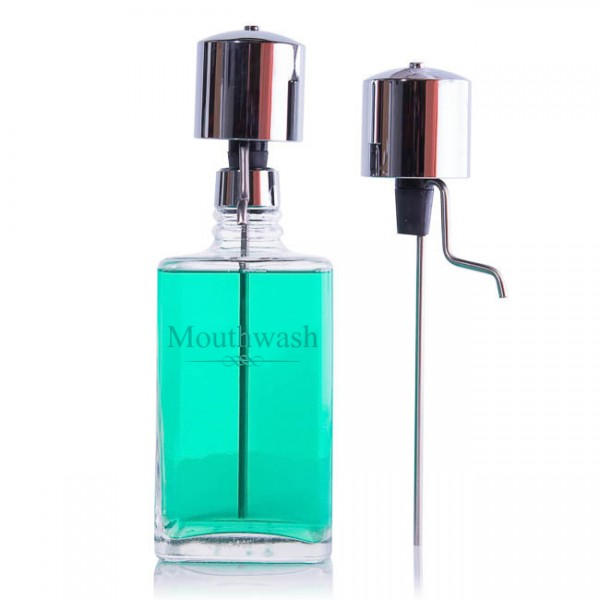 The Perfect Measure Mouthwash Decanter with 2 Chrome Pump Dispenser