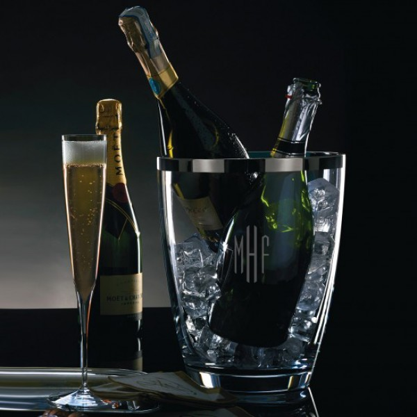 Engraved Waterford Elegance Champagne Cooler with Platinum Band