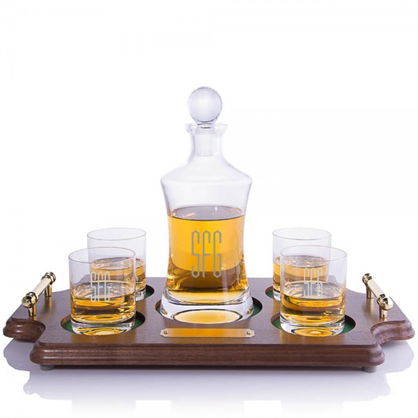 Waterford Hourglass Decanter Wood Tray Set