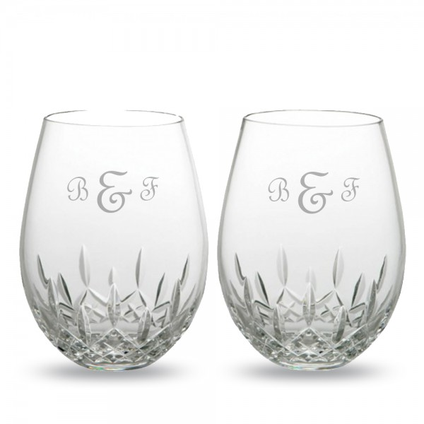 Custom Waterford Lismore Nouveau Stemless Deep Red Wine Glasses 2pc Set
