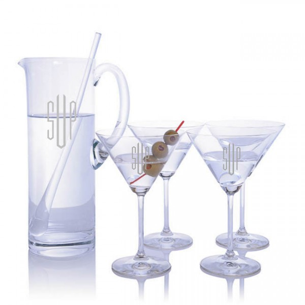 Engraved Waterford Martini Pitcher Set