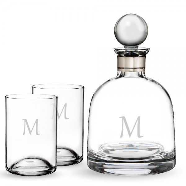 Personalized Waterford Elegance Short Liquor Decanter and 2 Elegance DOF Gift Set
