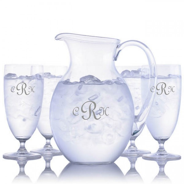 Waterford Engraved Iced Beverage & Pitcher Set