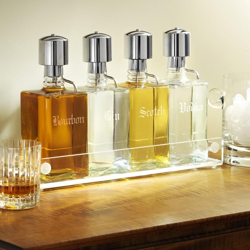Liquor Decanter Bar Set W Pump Tray Old English