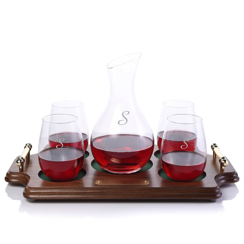 crystalize calloway wine decanter stemless wood tray set. Black Bedroom Furniture Sets. Home Design Ideas