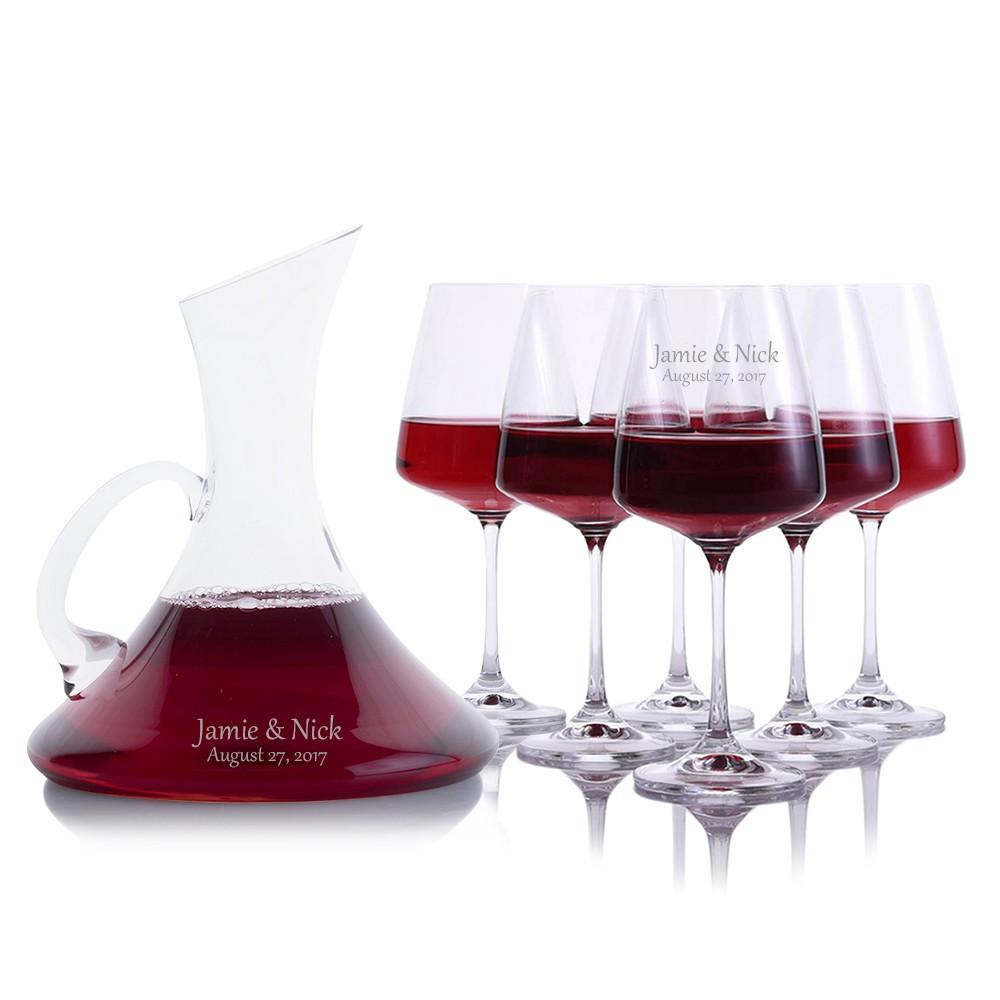 custom coltrane wine decanter 7pc stemmed set by crystalize. Black Bedroom Furniture Sets. Home Design Ideas