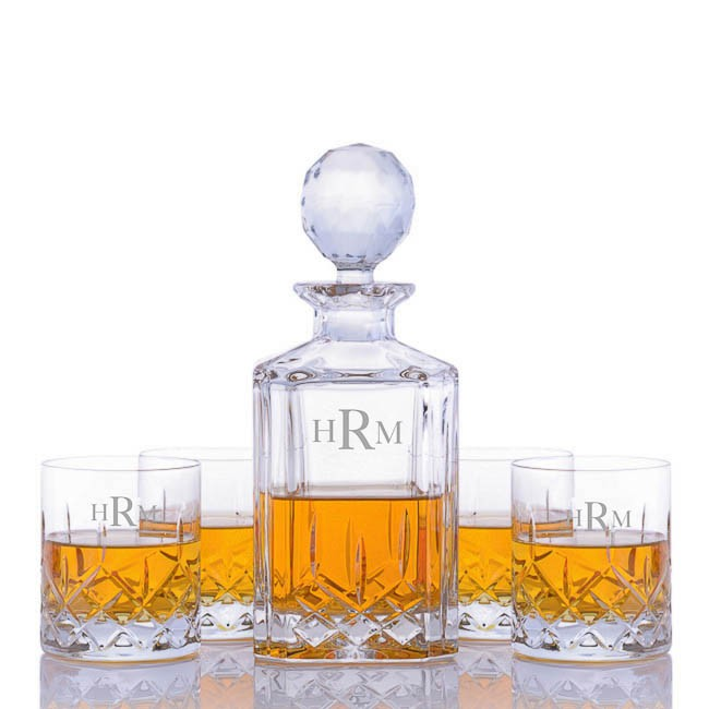 Engraved Cut Crystal Whiskey Decanter 5pc Rocks Set By