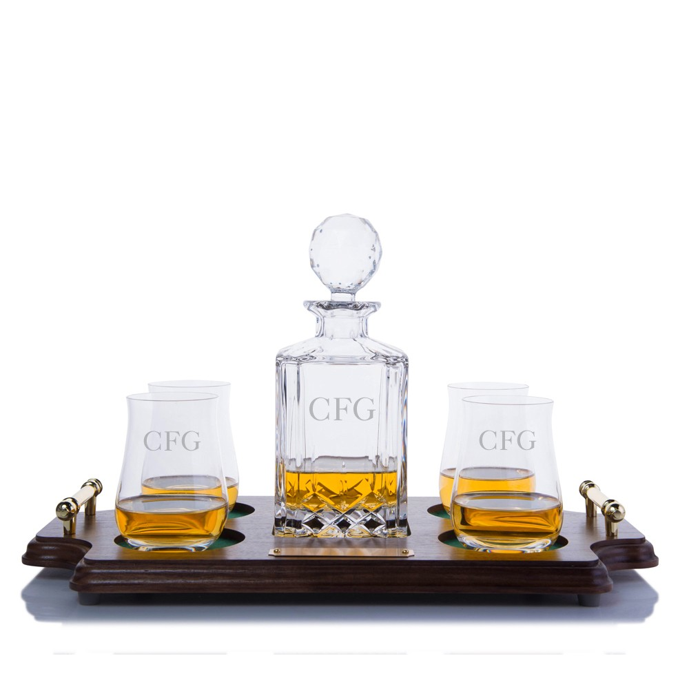 cut liquor decanter scotch wood tray set by crystalize