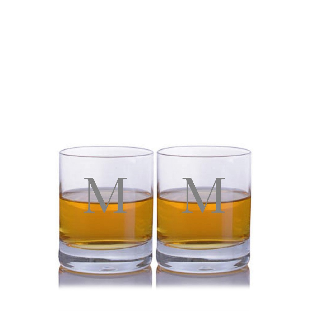Engraved Crystal Buckley Whiskey Decanter 3pc Rocks Set