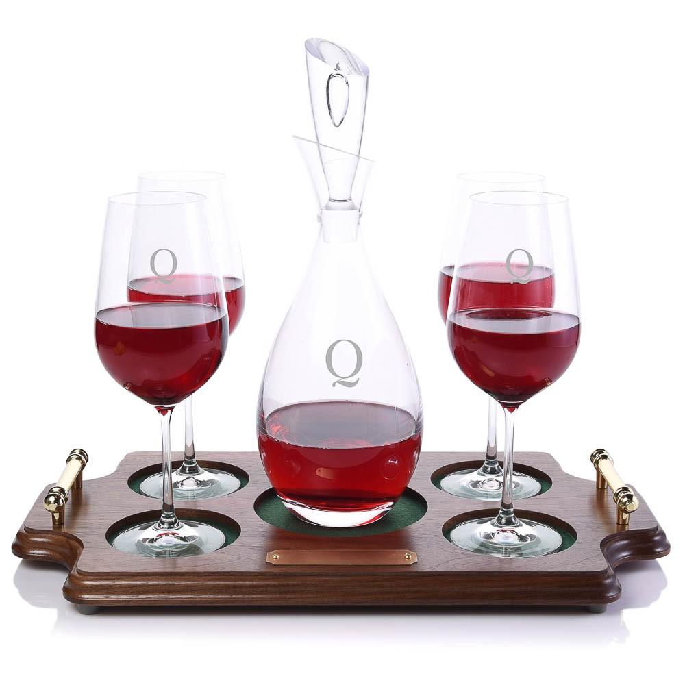 crystalize tear drop wine decanter tray set. Black Bedroom Furniture Sets. Home Design Ideas