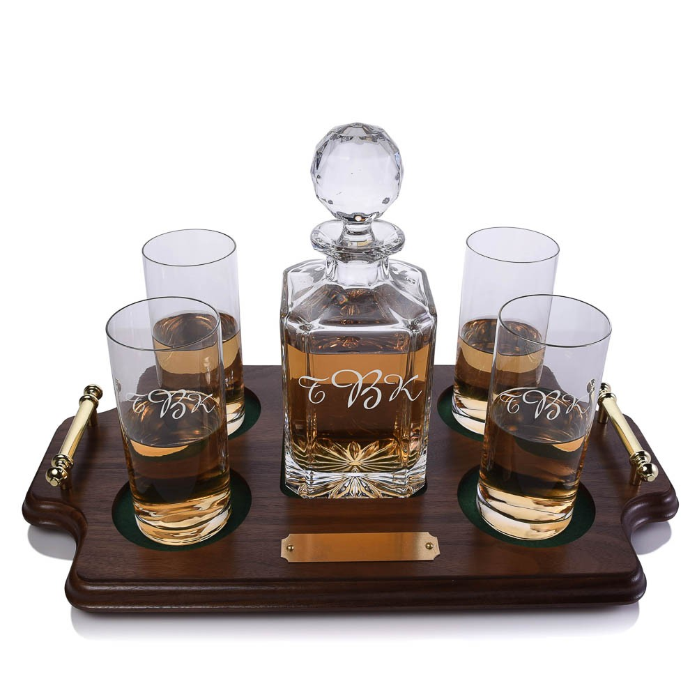 Bar Tray Set with Decanter /& 2 Whiskey Glasses Personalized /& Monogrammed