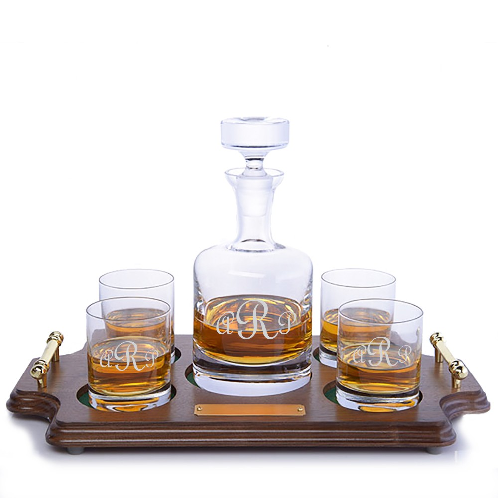 Engraved Buckingham Whiskey Decanter Wood Tray Set By Ravenscroft