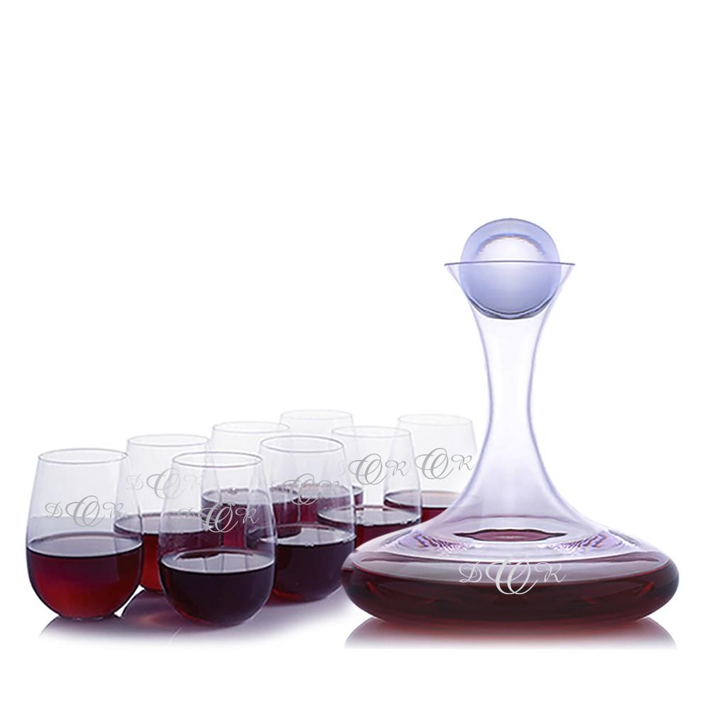 custom vintner 39 s choice wine decanter 9 piece stemless set. Black Bedroom Furniture Sets. Home Design Ideas