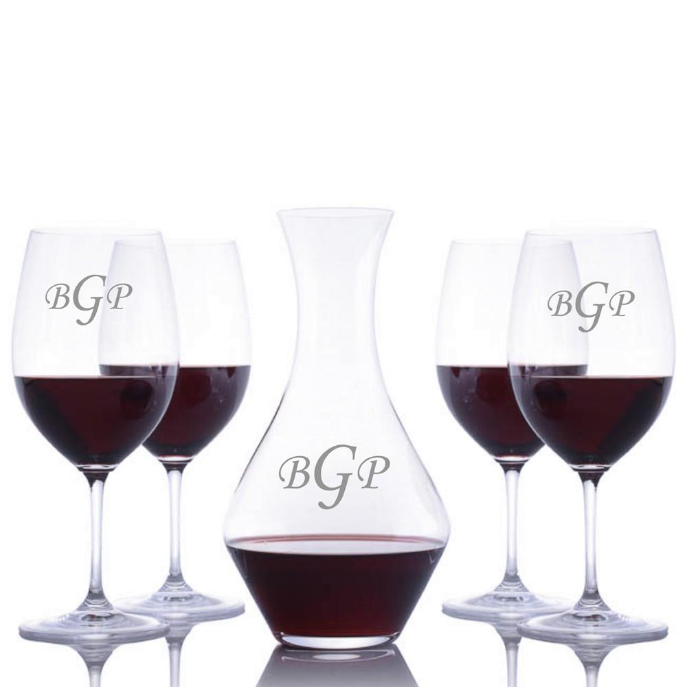 engraved cabernet magnum wine decanter 5pc stemmed set by riedel