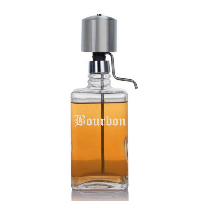 Liquor Decanter With Chrome Pump Dispenser
