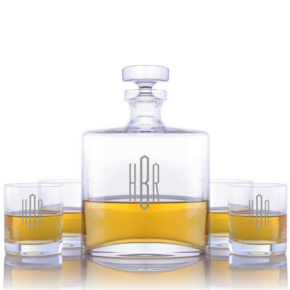 personalized waterford oval liquor decanter 5pc  rocks set